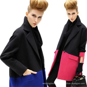 Fashion Medium-Long Splicing Notched Lapel Single Breasted Women Overcoat (50013-1)