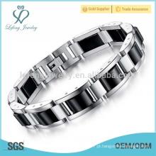 Pulseira de prata exclusiva de aço inoxidável, pulseira pesada mens