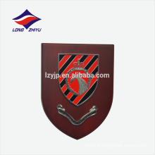 Logotipo de metal memorial placa de prêmio de escudo de madeira