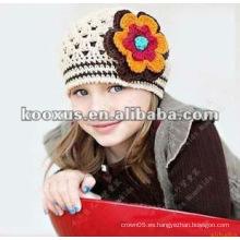 Encantador ganchillo bebé flor sombrero hecho a mano bebé flor sombrero ganchillo chicas sombrero de primavera bebé gorrita