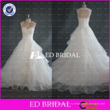 ЭД реальный образец Свадебные Cap рукавом Замочная скважина вернуться бальное платье из органзы свадебные платья