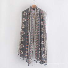 Fashion Tree Printed Cotton Viscose Printed Lady Scarf (YKY1153)