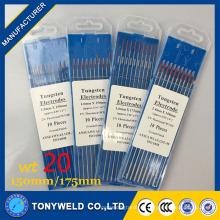 WT-20 2% Thoriated 100% calidad 1,6 * 150 Tig electrodo de soldadura de tungsteno