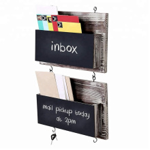 Rustic Barnwood Wall Mounted Chalkboard Mail Sorters with Key Hooks