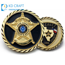 Custom Promotional Cheap Metal Brass Us Military Rotated Award Police Souvenir Coins 3D Original USA Secret Service Office Star Sheriff Challenge Coin with Logo