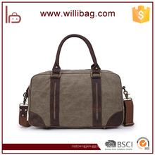Wholesale Canvas With Genuine Leather Travel Sports Duffel Bag