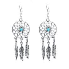 Dream Catcher Pendant Earrings Alloy Feather Dangle Earrings