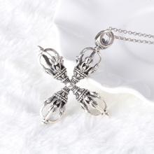 925 Sterling Silber Schmuck Thai Silber Retro Herren Wasserlines Kreuz Anhänger Halskette Männer und männliche Modelle
