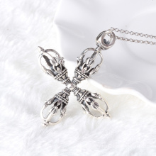 925 sterling silver jewelry Thai silver retro mens waterlines cross pendant necklace men and male models