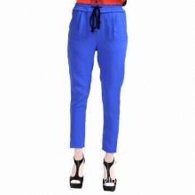 Women's woven solid color slim-fit pants