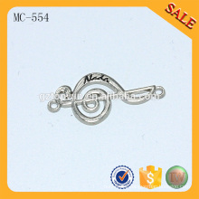 MC554 Shine silver small sewing metal letters logo label by Guangzhou maker