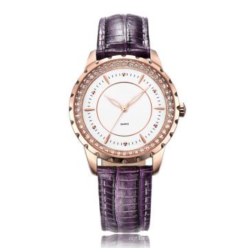 Сиреневый Цвет Кожаный ремешок часы для женщин моды и красочные
