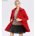 Nuevo Commuter Ladies Collar Thin 100% Wool Coat Mujeres estilo europeo y americano Double Breasted Long Winter Coat
