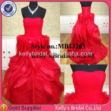 Kelly Bridal lace-up back design red organza dress italian design evening dress 2014