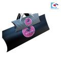 emballage d'extension de cheveux noir personnalisé avec ruban