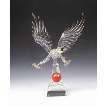 Home Decoartion K9 Crystal Glass Animal Figure Transparent Eagle