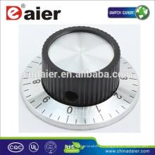 KN-138/138 Bouton de commande de ventilateur moleté noir numéroté avec bouton de commutateur rotatif de jupe chromée