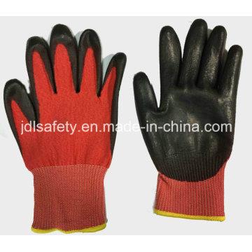 Guante de trabajo de anti-corte rojo con PU (ND8060)