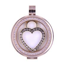 Locket de la moneda flotante del estilo del corazón para el colgante