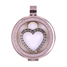 Heart Style Floating Coin Locket for Necklace Pendant