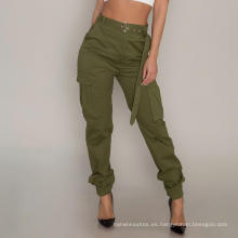 Ropa de sport modificada para requisitos particulares de los pantalones del cargo de las señoras de la cintura alta