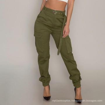 Customized High Waist Ladies Cargo Pants Casual Wear