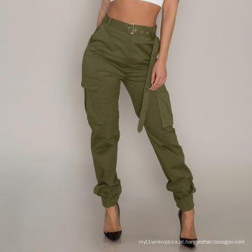 Calça Cargo Feminina de Cintura Alta Personalizada Casual Wear