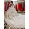 Robe de mariage robe faite sur mesure robe de noiva train de cathédrale de luxe 2017 robes de mariée musclé à manches longues musclées MW960