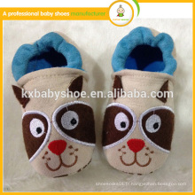 Top sell motif animal doux semelle en gros chaussures en cuir pour bébé