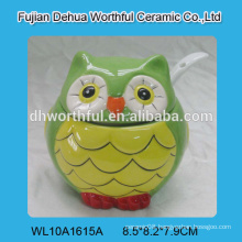 Lovely owl shaped ceramic sugar pots with spoon,ceramic seasoning containers