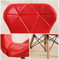 Wholesale luxury Leather Seat Dining Chair PU Patchwork Wood legs