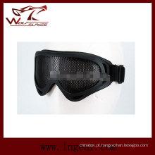 Airsoft UV-X 400 Mesh Metal Goggle tático Anti-Fog olhos óculos de proteção