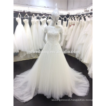 Free Shipping Real Sample Dress Married White Beading Tulle A-Line Short Sleeves Turkish Wedding Dress in Dubai A044