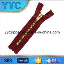 4 # Messing Gold Zähne Schließen End Metall Zipper für Taschen