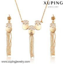 63904 Xuping fashion jewelry gold plated long drop earring and necklace sets