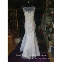 Trompeta / sirena vestido de novia floral corte de encaje tribunal fuera del hombro crepé encaje vestido de novia P098