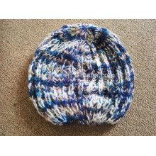 Mulheres inverno fancy fios moda acrílico tricô beanie hat