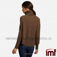 Зимняя мода Браун Водолазка Кабель фронта женщин Женщины кашемир свитер