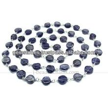 La piedra preciosa de plata al por mayor de la moneda rebordeó la cadena, joyería del bisel de la piedra preciosa