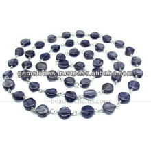 Atacado Silver Lmooth Coin Gemstone Beaded Chain, Gemstone Bezel Jewelry