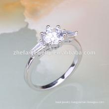 white stone little girls silver finger rings
