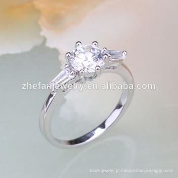 pedra branca garotinhas anéis de dedo de prata