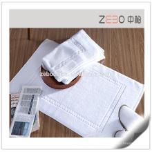 100% Algodão Jacquard estilo excelente água absorvente branco fino banho mat
