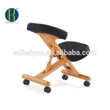 HY5001-2 De madeira natural cadeira ajoelhado ergonómica ajustável assento acolchoado móvel e resto do joelho (preto)