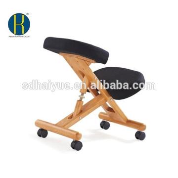 HY5001-2 Silla de rodillas ergonómica de madera natural Asiento acolchado móvil ajustable y reposa-rodillas (Negro)