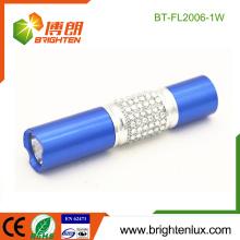 Fabrik Bulk Verkauf Gehäuse Notfall Metall 1 * AA Trockene Batterie Powered Promotion 1w führte kleine Fackel Licht mit Diamant