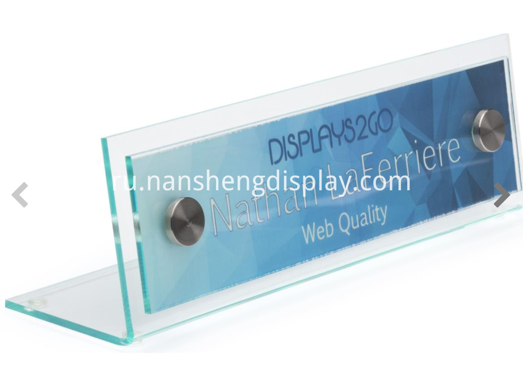 Acrylic Name Plate with Slant Back