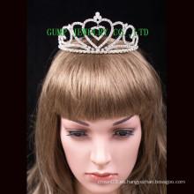 Diseño del corazón de la corona del desfile del rhinestone de la tiara del día de tarjeta del día de San Valentín headwear