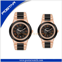 Montre Couple Montre bracelet de luxe Montre mécanique en acier inoxydable