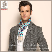 Plaid Pattern двойной два слоя себя бахромой Шелковый мужчин шарф